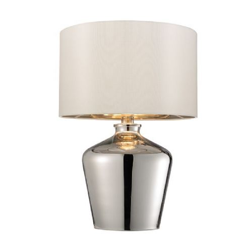 Chromed glass & ivory faux silk Tablelamp BX61198-17 by Endon (Class 2 Double Insulated)